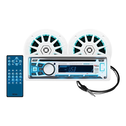 BOSS Audio Systems MCK762BRGB.6 Receiver Speaker Package, Detachable Front Panel, Wireless Remote, 2 6.5 Inch Speakers